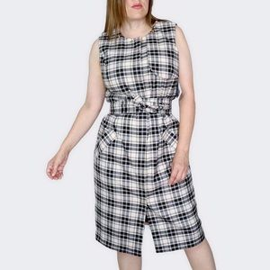Liz Claiborne Ivory And Black Plaid Trench Dress